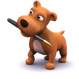 3d Dog with a pen in his mouth Royalty Free Stock Photos