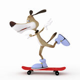 3d dog on a skateboard. Royalty Free Stock Images