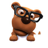 3d Dog wearing glasses peeps over the top Royalty Free Stock Image