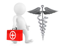 3D Doktor Character mit silbernem medizinischem Caduceus-Symbol 3d zerreißen Lizenzfreies Stockbild