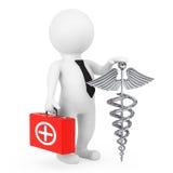 3D Doktor Character mit silbernem medizinischem Caduceus-Symbol 3d zerreißen Lizenzfreies Stockfoto