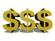 3d dolarów znaki Zdjęcia Stock