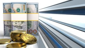 3d of dollar banknotes Royalty Free Stock Image