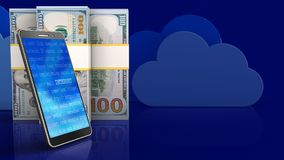3d of dollar banknotes. 3d illustration of dollar banknotes over clouds background with mobile phone Stock Photography