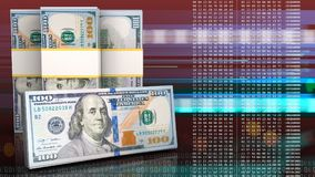 3d of dollar banknotes. 3d illustration of dollar banknotes over red cyber background with cash Stock Photography