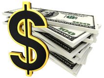 3d dollar banknotes and golden sign of dollar Royalty Free Stock Photo