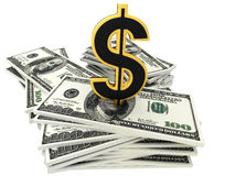 3d dollar banknotes and golden sign of dollar Stock Images