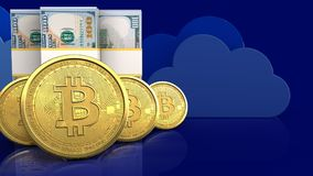 3d of dollar banknotes. 3d illustration of dollar banknotes over clouds background with bitcoins row Royalty Free Stock Images