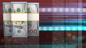 3d of dollar banknotes Royalty Free Stock Images