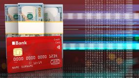 3d of dollar banknotes. 3d illustration of dollar banknotes over red cyber background with bank card Royalty Free Stock Images