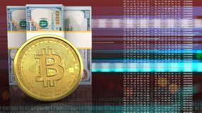 3d of dollar banknotes. 3d illustration of dollar banknotes over red cyber background with bitcoin Royalty Free Stock Photos