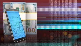3d of dollar banknotes. 3d illustration of dollar banknotes over red cyber background with phone Stock Photos