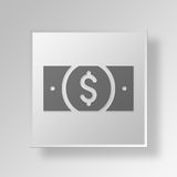 3D dollar Button Icon Concept Stock Images