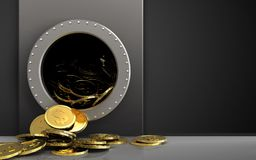 3d dollar coins over black. 3d illustration of metal box with dollar coins over black background Royalty Free Stock Photos