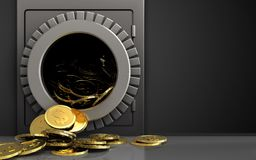 3d dollar coins over black. 3d illustration of metal safe with dollar coins over black background Royalty Free Stock Photography