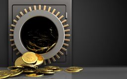 3d dollar coins over black. 3d illustration of metal safe with dollar coins over black background Royalty Free Stock Photo