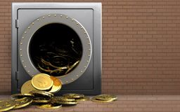 3d dollar coins over bricks wall Royalty Free Stock Photos