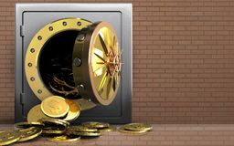 3d dollar coins over bricks wall. 3d illustration of metal safe with dollar coins over bricks wall background Royalty Free Stock Image