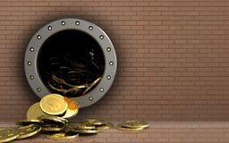 3d dollar coins over bricks wall. 3d illustration of dollar coins storage over bricks wall background Royalty Free Stock Photo