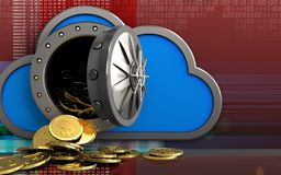 3d dollar coins over digital red. 3d illustration of cloud with dollar coins over digital red background Stock Photos