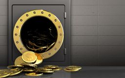 3d dollar coins over iron wall Stock Photo