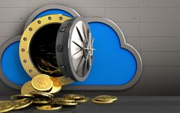 3d dollar coins over iron wall. 3d illustration of cloud with dollar coins over iron wall background Stock Images