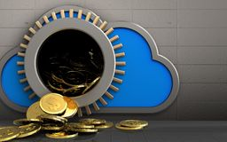 3d dollar coins over iron wall. 3d illustration of cloud with dollar coins over iron wall background Royalty Free Stock Photography
