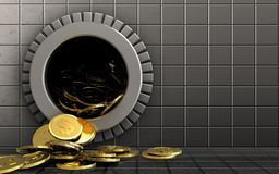 3d dollar coins over steel wall. 3d illustration of dollar coins storage over steel wall background Royalty Free Stock Photos