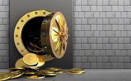 3d dollar coins over white stones Royalty Free Stock Image