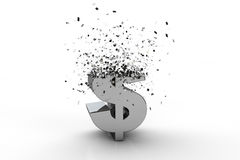 3D dollar currency symbol exploding Stock Images