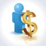3D Dollar en Mensen Royalty-vrije Stock Afbeelding