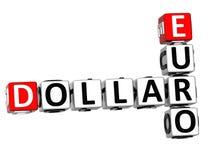 3D Dollar Euro Kruiswoordraadsel Stock Afbeelding