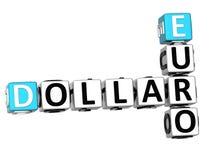 3D Dollar Euro Kruiswoordraadsel Stock Foto's