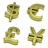 3D dollar, euro, pond Sterling, Yen, yuan muntensymbool dat op wit wordt geplaatst Royalty-vrije Stock Foto's