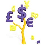 3d dollar, euro, pound sterling signs on a tree. 3d dollar, euro, pound sterling signs isolated on white on a tree Stock Images