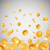 3d dollar gold coins fall in realistic style,big win jackpot game casino concept on transparent background,business vector illustration