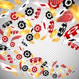 3d dollar gold coins,holdem poker casino chips cards flow in realistic style,big win jackpot game vegas casino concept stock illustration