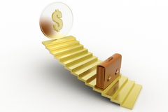 3d dollar with golden Stair Royalty Free Stock Image