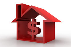 3d dollar house concept Royalty Free Stock Photo