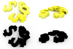 3d dollar icon concept collections with alpha and shadow channel Stock Photography