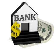 3D dollar met bank Stock Fotografie
