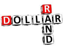 3D dollar Rand Crossword Royaltyfria Foton