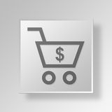 3D dollar Shopping Cart icon Business Concept Stock Photography