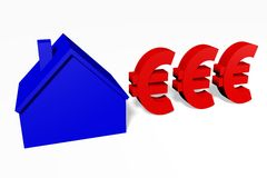 3D Dollar sign and house shape. Royalty Free Stock Photos