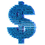 3D Dollar sign made of words Royalty Free Stock Photography