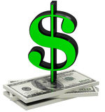 3D dollar sign with money Stock Photo