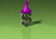 3D Dollar Sign with party hat Royalty Free Stock Image