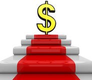 3D Dollar sign on podium Stock Images