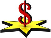 3D dollar sign on the yellow star Stock Photography