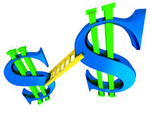3D dollar signs with ladder. On a white background Stock Images
